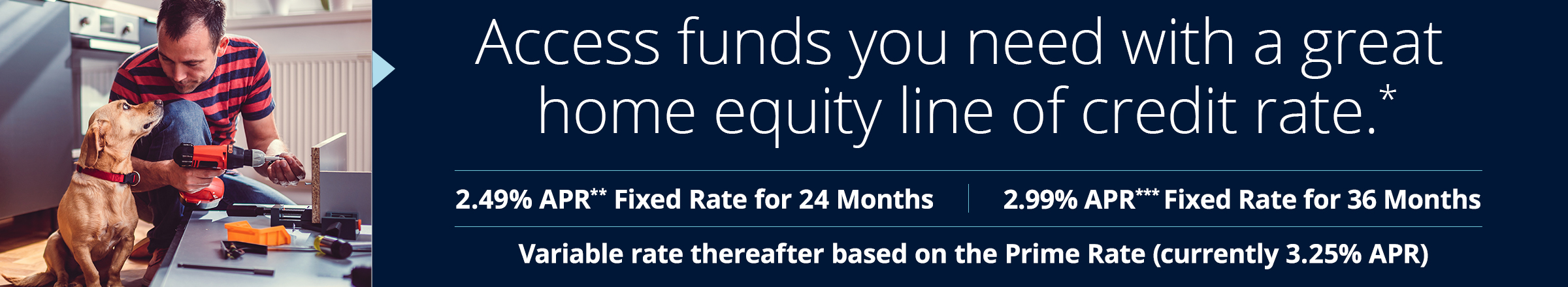 2.49% APR** Fixed Rate for 24 Monthhs 2.99%*** Fixed Rate for 36 Months Variable rate thereafter based on the Prime rate (currently 3.25% APR)